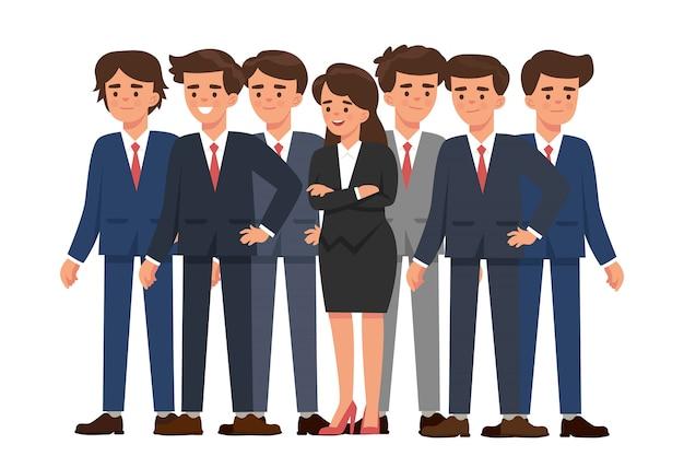 Jeune femme d'affaires se distingue parmi de nombreux hommes d'affaires