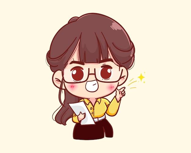 Jeune femme d'affaires tenant du papier et pointant le doigt vers l'illustration de dessin animé de côté