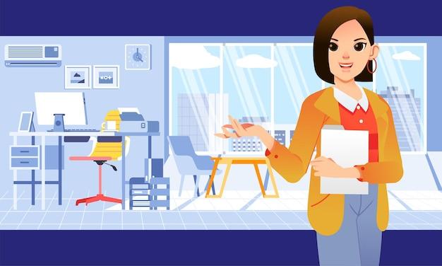 Jeune femme d'affaires avec tenue de bureau tenant une carte et montrant sa salle de bureau