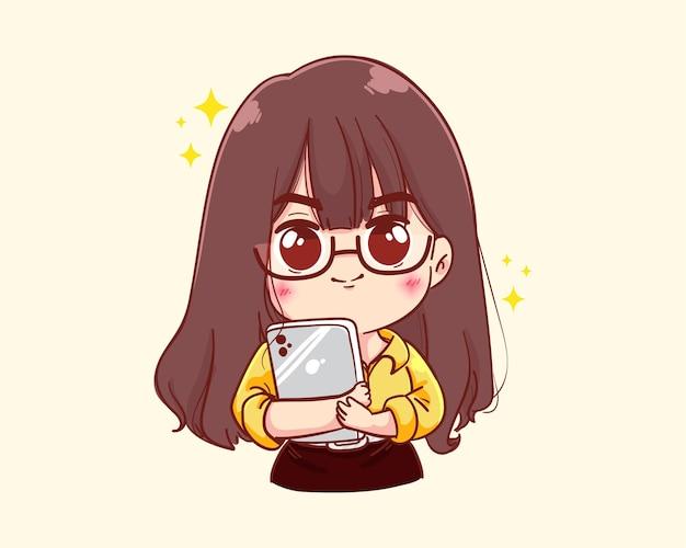 Jeune, femme affaires, tenue, tablette, dessin animé, illustration