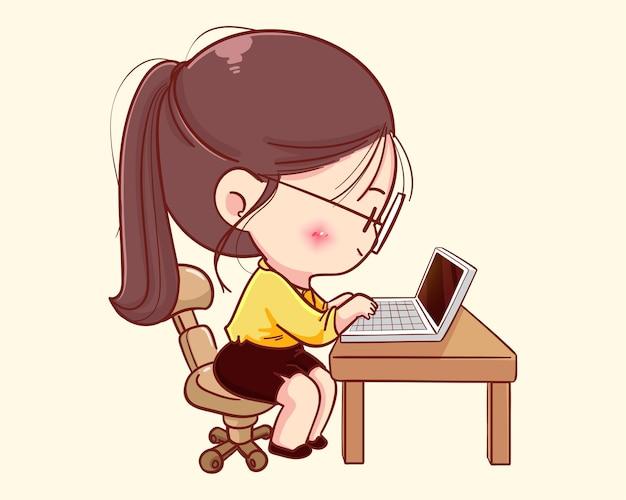 Jeune femme d'affaires travaillant sur l'illustration de dessin animé d'ordinateur portable