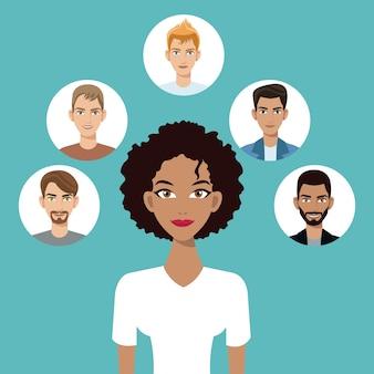 Jeune femme afro américaine avec l'icône de visages