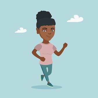 Jeune femme afro-américaine qui court.