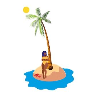 Jeune femme afro sur la scène d'été de la plage