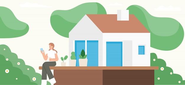 Jeune femme à l'aide de smartphone à la maison. restez à la maison. auto-quarantaine lors d'une épidémie de coronavirus. illustration de personnage de dessin animé.