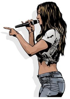 Jeune femme anonyme en vêtements décontractés chantant avec microphone