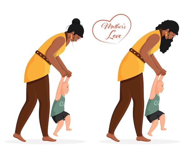 Jeune femme apprenant à son bébé à marcher dans deux options pour l'amour de sa mère.