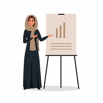 Jeune femme arabe travaillant au bureau. une femme saoudienne fait une présentation et pointe vers un tableau. illustration vectorielle de couleur en style cartoon plat.