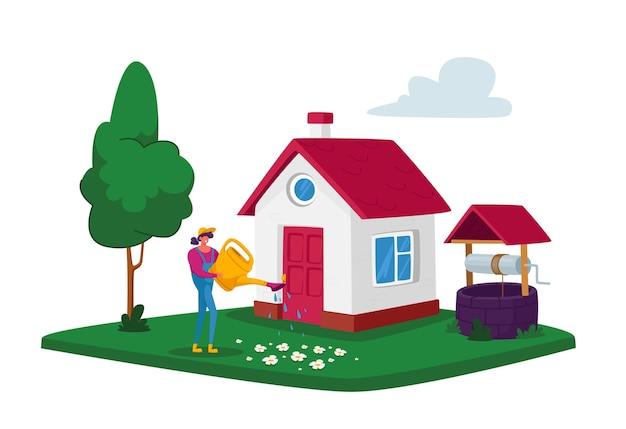Jeune femme, arrosage des fleurs de l'arrosoir à la cour avant de la maison. fille en plein air, prendre soin des plantes, jardinage passe-temps saisonnier, concept d'activité de plein air