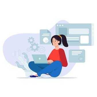 Jeune femme assise se détendre sur le sol travaillant avec une illustration d'ordinateur portable