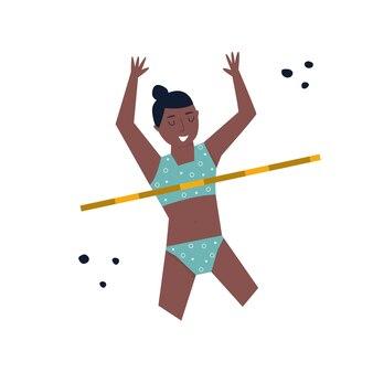 Jeune femme athlète sautant haut lors de compétitions. illustration vectorielle