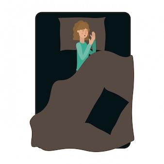 Jeune femme au lit personnage d'avatar