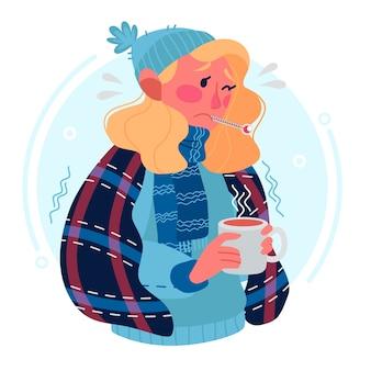 Jeune, femme, avoir, rhume