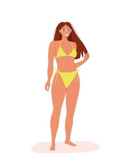 Jeune femme en bikini isolée. illustration de dessin animé de style plat de vecteur