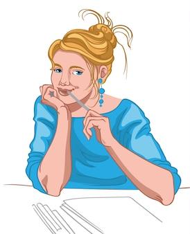 Jeune femme blonde aux yeux bleus et visage joyeux habillé en chemisier bleu pensant