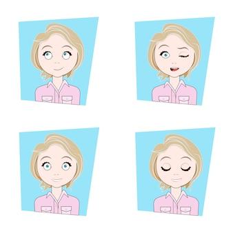 Jeune femme blonde avec différentes émotions du visage, ensemble d'expressions de visage de fille