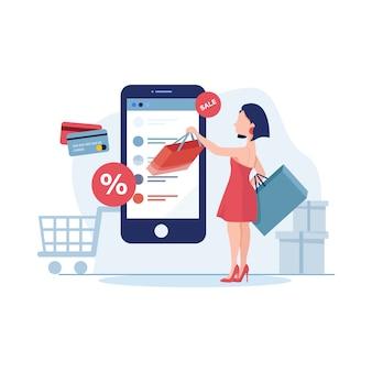 Jeune femme boutique en ligne à l'aide d'illustration smartphone en style plat