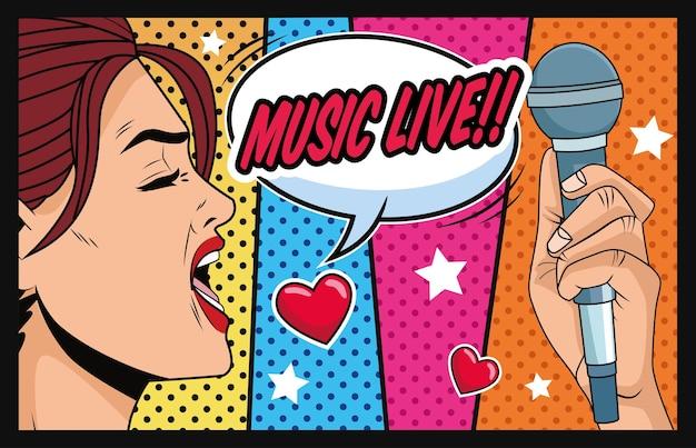 Jeune femme avec bulle de dialogue aime la musique et microphone illustration vectorielle de style pop art