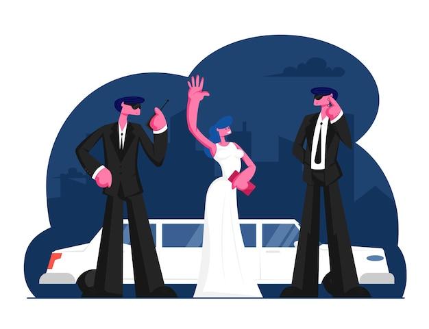 Jeune femme célèbre se tenir à la limousine en agitant les mains. illustration plate de dessin animé