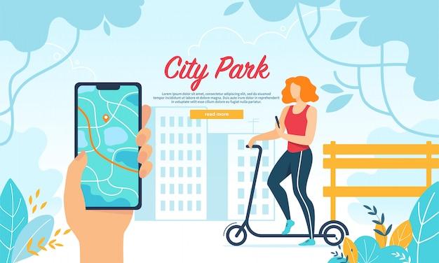 Jeune femme, conduite, scooter, dans, parc ville, mobile