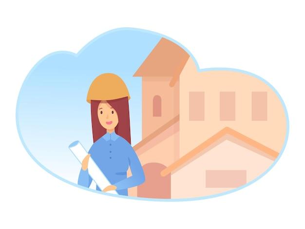 Jeune femme constructeur en casque tenant un document papier en main