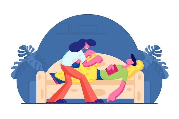 Jeune femme couvrant avec couverture et soins de l'homme endormi avec livre dans les mains sur le canapé. illustration plate de dessin animé