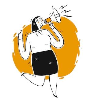 Jeune femme criant par haut-parleur.