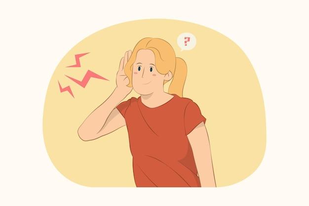 Une jeune femme curieuse essaie d'entendre quelqu'un qui écoute attentivement avec le concept de main près de l'oreille
