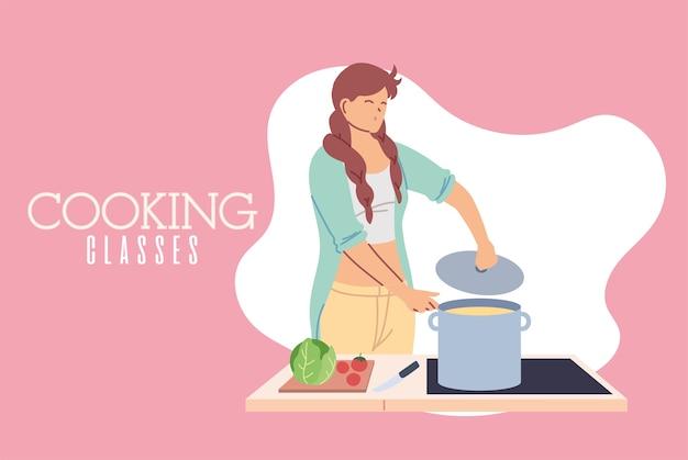 Jeune femme dans la conception d'illustration de cours de cuisine