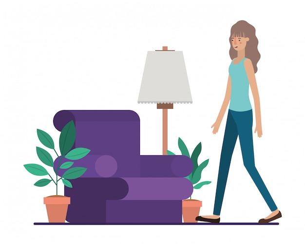 Jeune femme dans le salon avatar personnage vector illustration desing