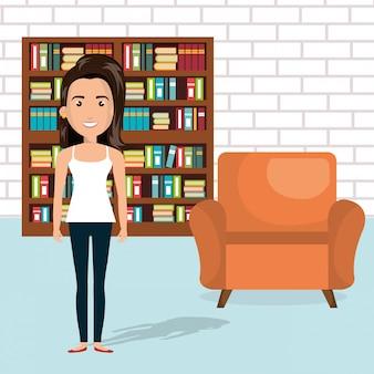 Jeune femme dans la scène personnage de la bibliothèque