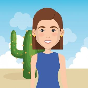 Jeune femme dans la scène de personnage du désert