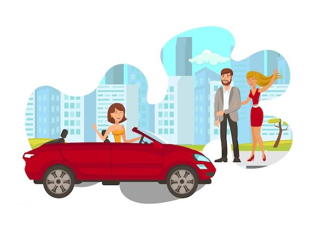 Jeune femme, dans, voiture, plat, illustration isolée