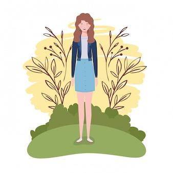 Jeune femme debout avec paysage