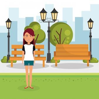 Jeune femme, dehors, maison