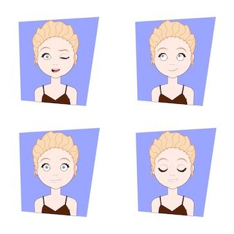 Jeune femme avec différentes émotions du visage ensemble d'expressions de visage de fille blonde