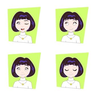 Jeune femme avec différentes émotions du visage ensemble d'expressions de visage de fille