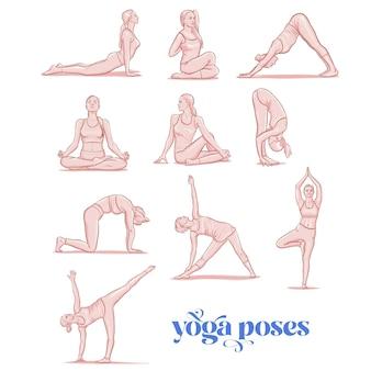 Jeune femme effectuant des exercices physiques, personnage de dessin animé féminin démontrant diverses positions de yoga.