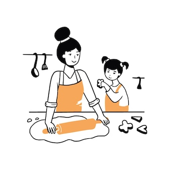 Jeune femme et enfant dessinés à la main