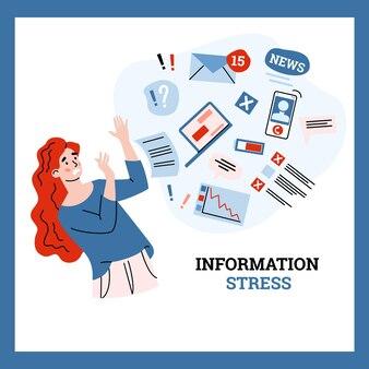 Une jeune femme essaie d'arrêter le stress et la surcharge d'informations par flux de données
