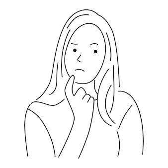 Jeune femme d'expression confuse et douteuse