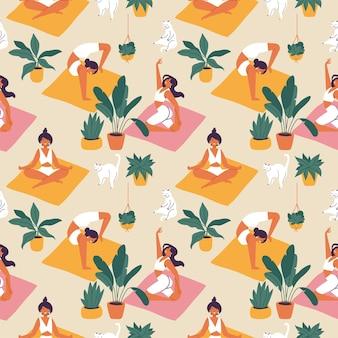 Jeune femme faisant du yoga sur un modèle sans couture d'illustration de tapis rose ou orange sur fond beige