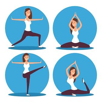 Jeune femme faisant des exercices de yoga et illustration vectorielle de méditation
