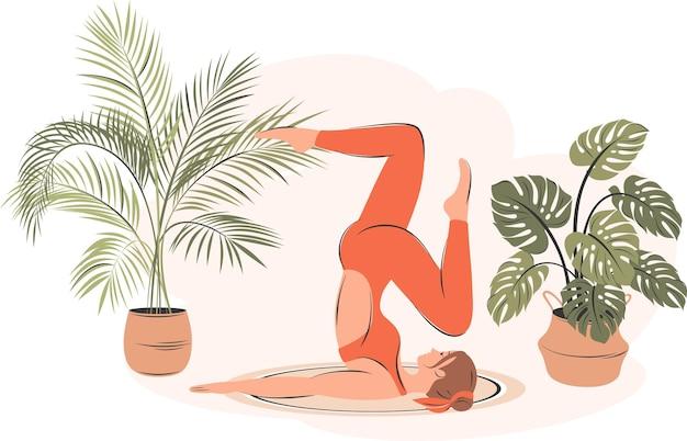 Jeune femme faisant des exercices de yoga. personnage féminin pratiquant en studio ou à domicile. mode de vie sain et concept de yoga à domicile à l'intérieur. illustration vectorielle plane.