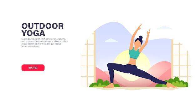 Jeune femme fait des exercices de yoga - se détendre dans la nature.