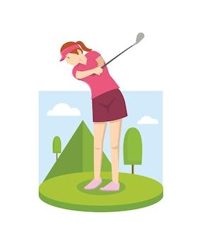 Jeune femme, golf jouant
