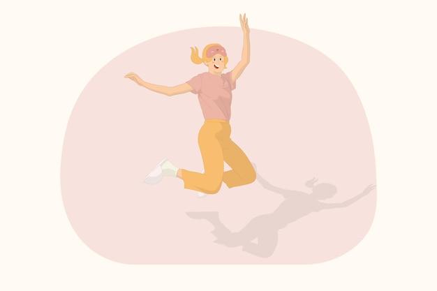 Jeune femme heureuse se détendre à la maison sauter haut avec le concept de mains tendues
