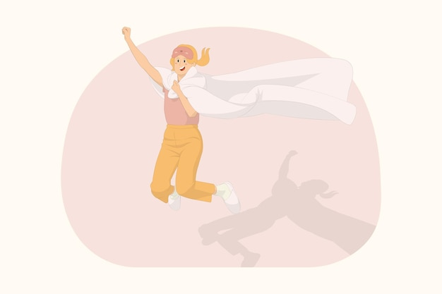 Jeune femme heureuse se détendre à la maison sauter haut vol geste envelopper dans le concept de couette couverture