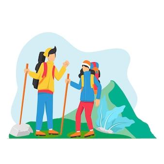 Jeune, femme, homme, couple, randonnée, montagnes