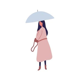 Jeune femme avec illustration vectorielle plane parapluie. saison d'automne, jour de pluie, balade sous la pluie. femme portant un imperméable, fille marchant seule personnage sans visage isolé sur fond blanc.